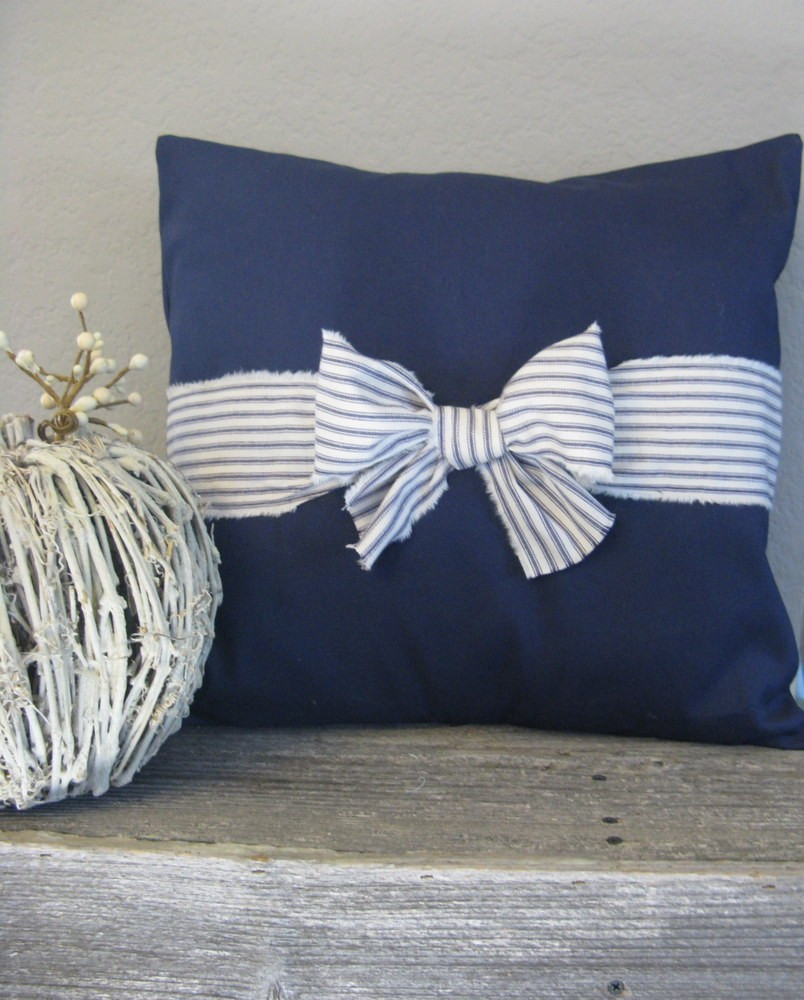 The Nichole 18 X 18 Navy Blue And White Ticking Bow Pillow Cover
